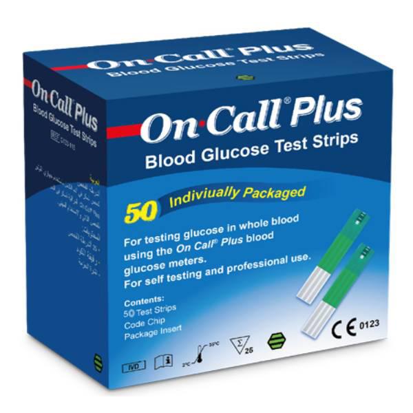 نوار تست قند خون آن کال پلاس مدل ON CALL PLUS بسته 50 عددی